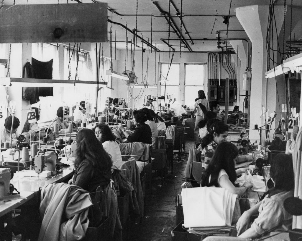 Inside a garment shop