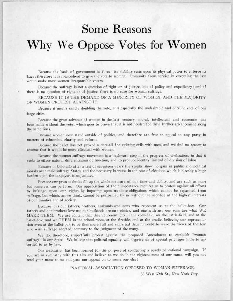 Some reasons why we oppose votes for women … National association opposed to woman suffrage. New York City [1894].