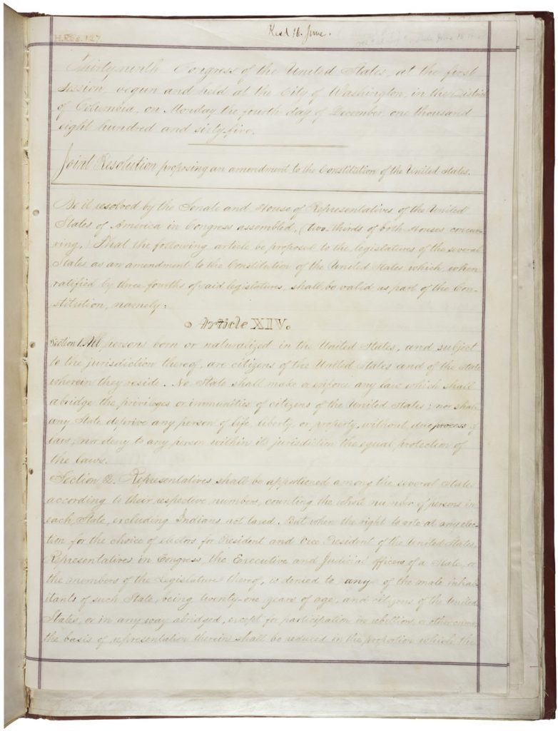 Joint Resolution Proposing the Fourteenth Amendment to the United States Constitution