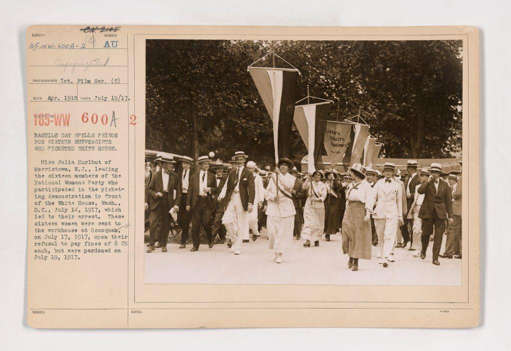 Bastille Day spells prison for sixteen suffragists