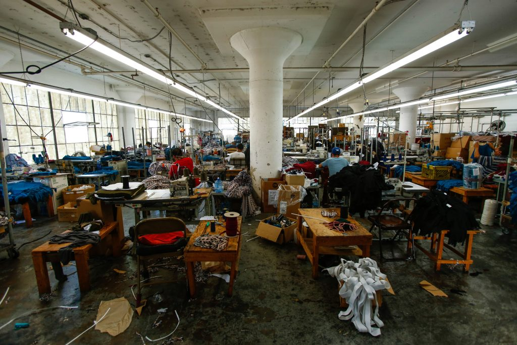 A sewing factory in downtown Los Angeles