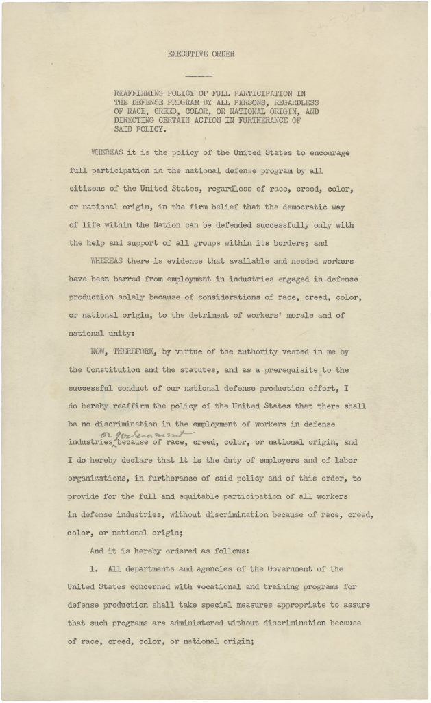 Executive Order 8802 Dated June 25, 1941, in which President Franklin D. Roosevelt Prohibits Discrimination in the Defense Program
