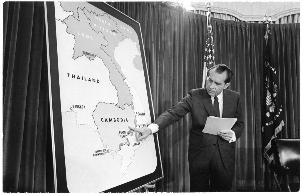 President Richard Nixon Points to a Map of Cambodia during a Vietnam War Press Conference