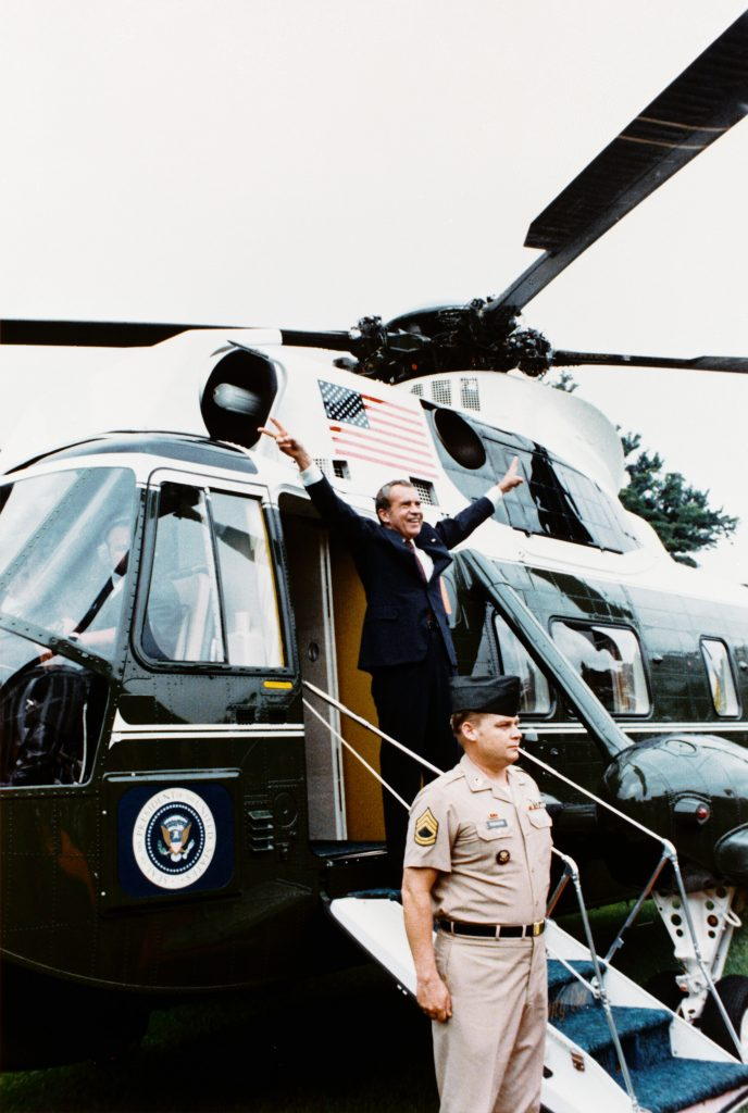 12.AD.4.5b President Richard Nixon Departing the White House on the Presidential Helicopter for the Last Time as President