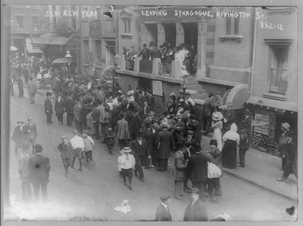 Crowd leaving synagogue on Jewish New Year. Rivington St., East Side, New York City.