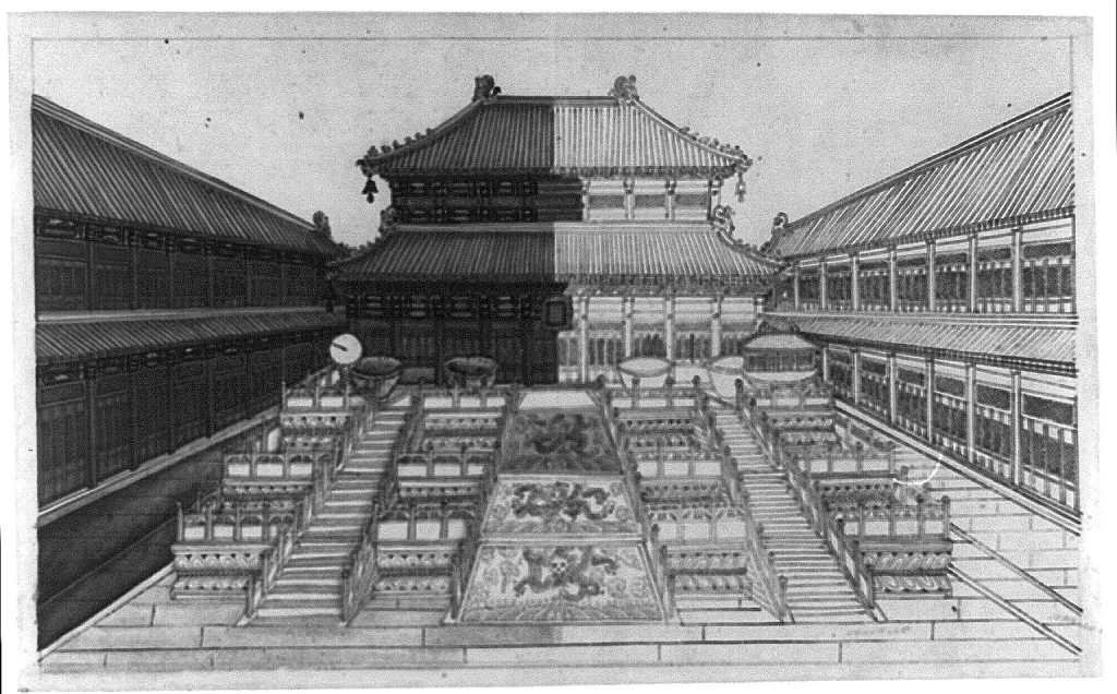 Buildings inside the imperial palace compound in Beijing, China, showing stairways and marble terrace with dragons