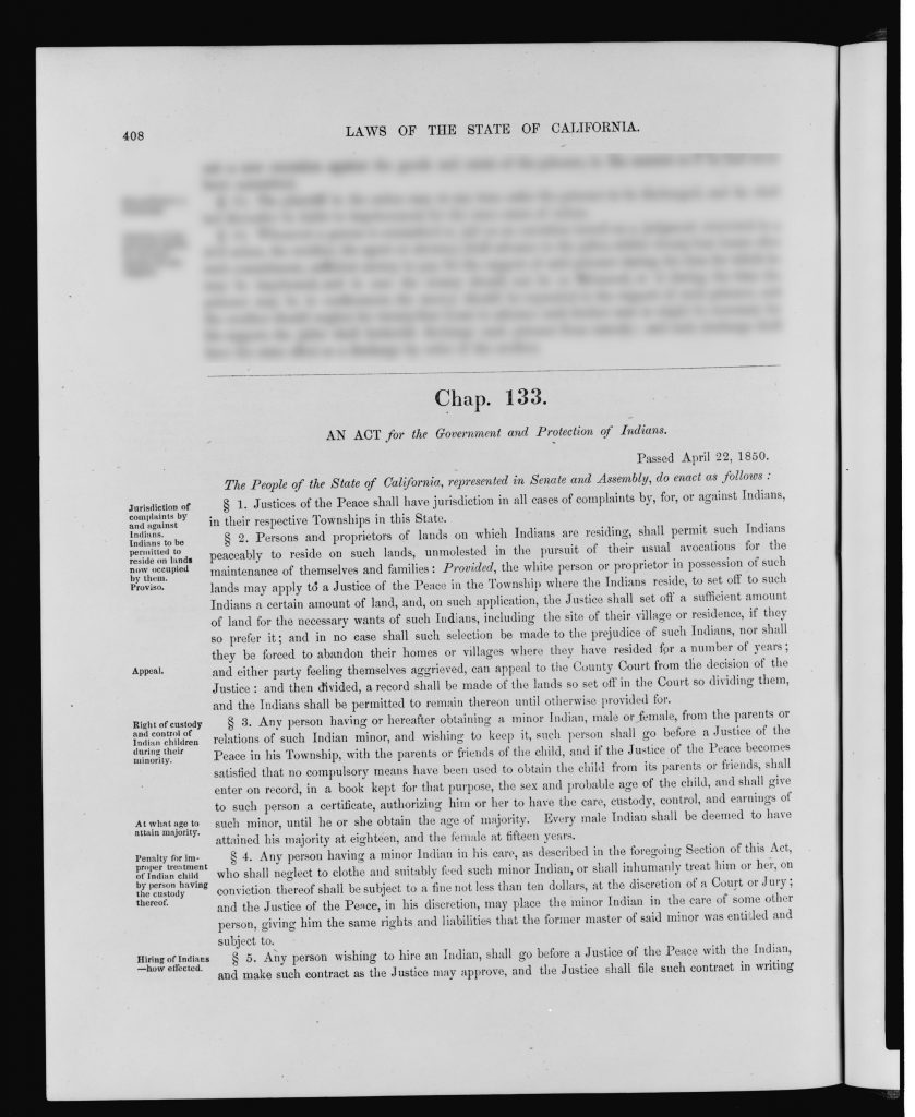Laws of the State of California An act for the government and protection of Indians.
