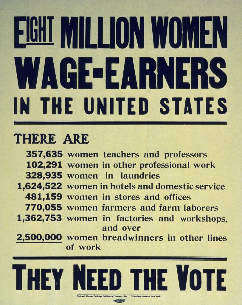 Eight million women wage earners in the United States. … They need the vote.