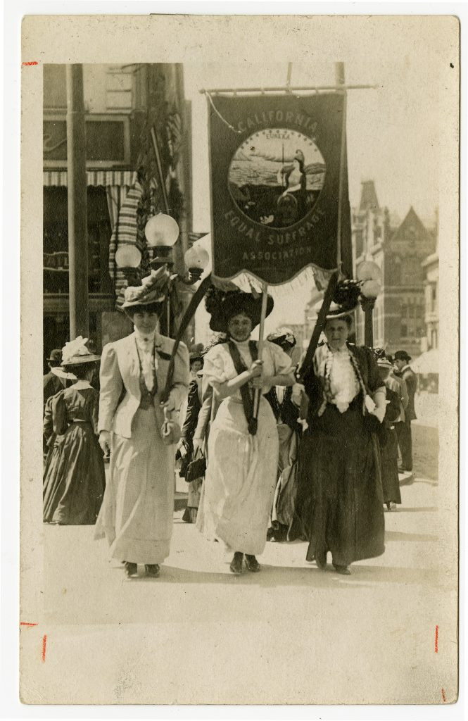 Mmes. L.H. Coffin, J. Pinther, Jr. and Hanna Kane with California Equal Suffrage banner, Oakland