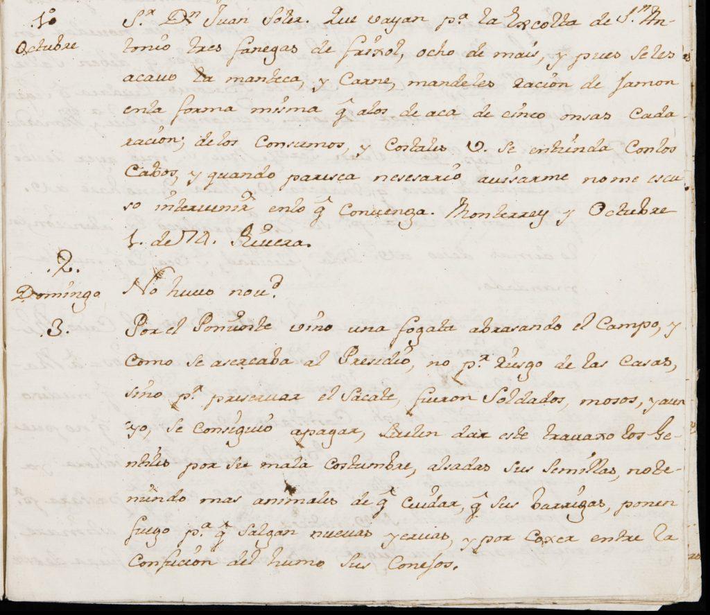 Diary entry of Captain Fernando Rivera y Moncada at Monterey on October 3, 1774