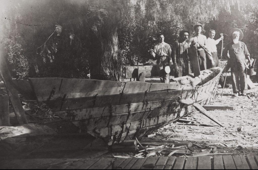 Chumash tomol (plank canoe) built under the direction of Fernando Librado Kitsepawit for J. P. Harrington