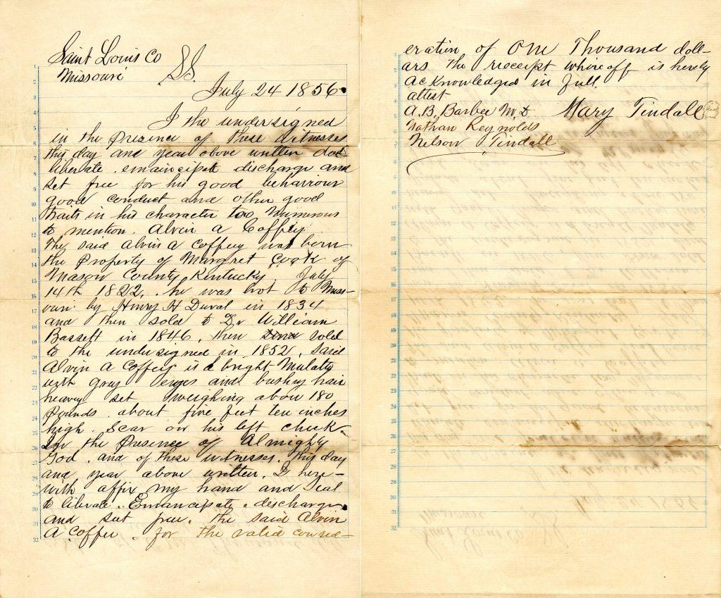 Manumission Deed of Alvin Aaron Coffey