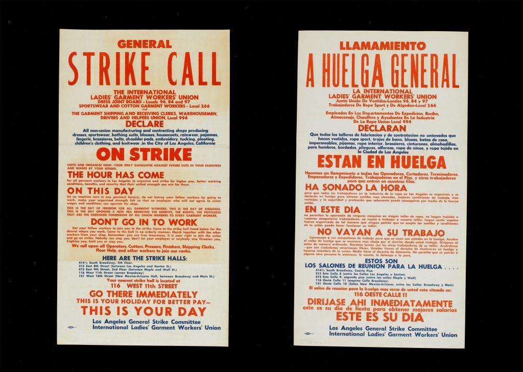 ILGW General Strike Call Broadside in English and Spanish