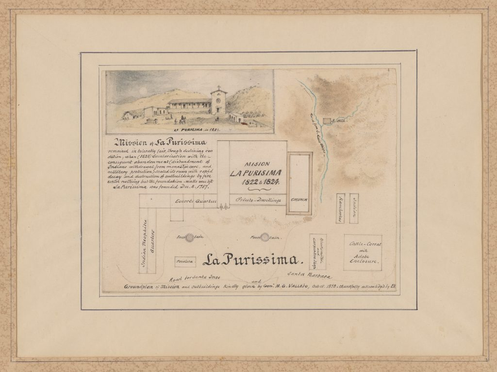 La Purissima [i.e. La Purisima]: Groundplan of mission and outbuildings [with sketch of mission in 1824].