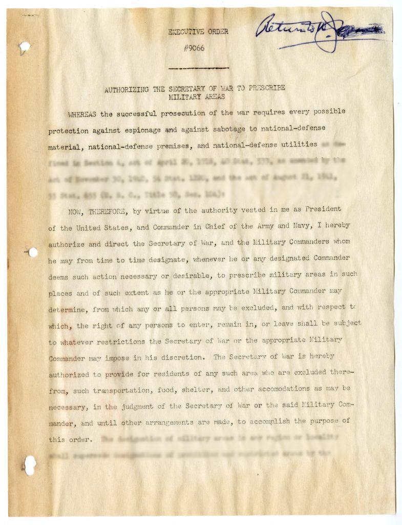 Executive Order #9066 Authorizing the Secretary of War to Prescribe Military Areas