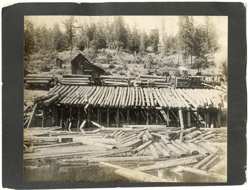 Northern California Lumber Company train ready to be unloaded