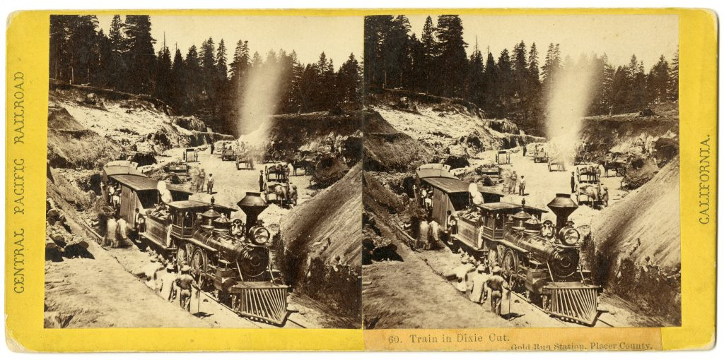 Train in Dixie Cut. Gold Run Station, Placer County.