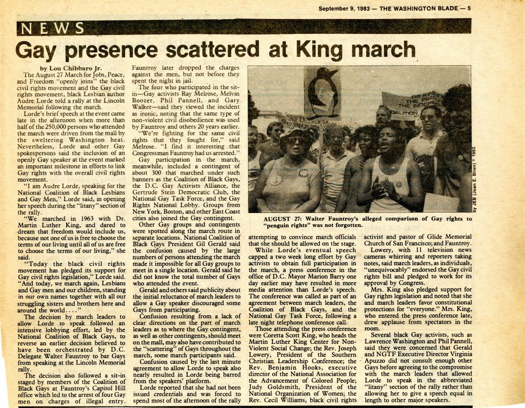 March on Washington, 1983. Article title: Gay presence scattered at King march