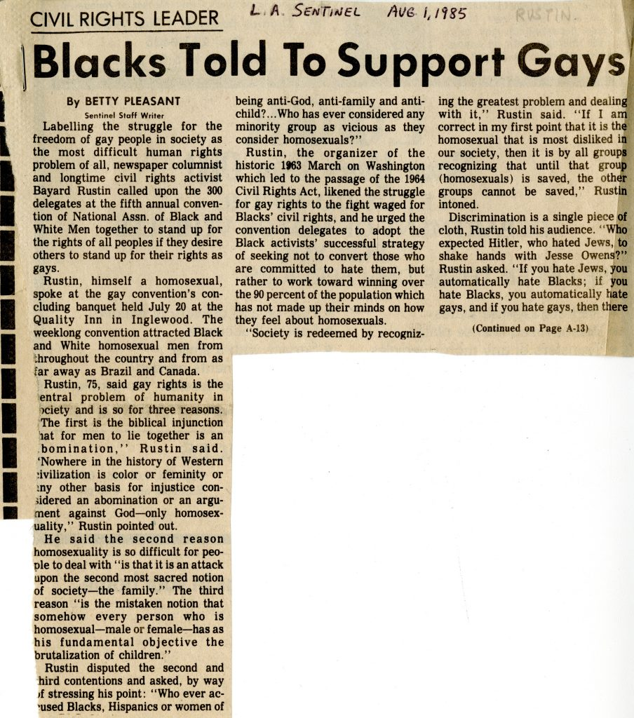 "Bayard Rustin on Movement for Gay Rights, 1985 (""Blacks Told to Support Gays"")"