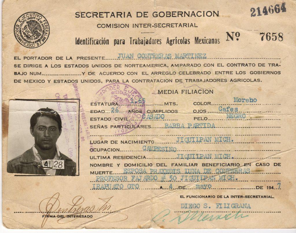Alien laborer's identification card of Juan Contreras