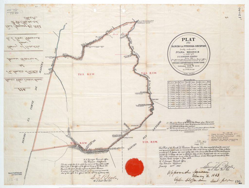 Plat of the Rancho La Purisima Concepcion, finally confirmed to Juana Briones : [Santa Clara Co., Calif.] / As located by the U.S. Surveyor General