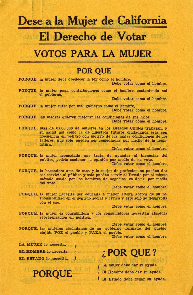 Dese a la mujer de California el derecho de votar