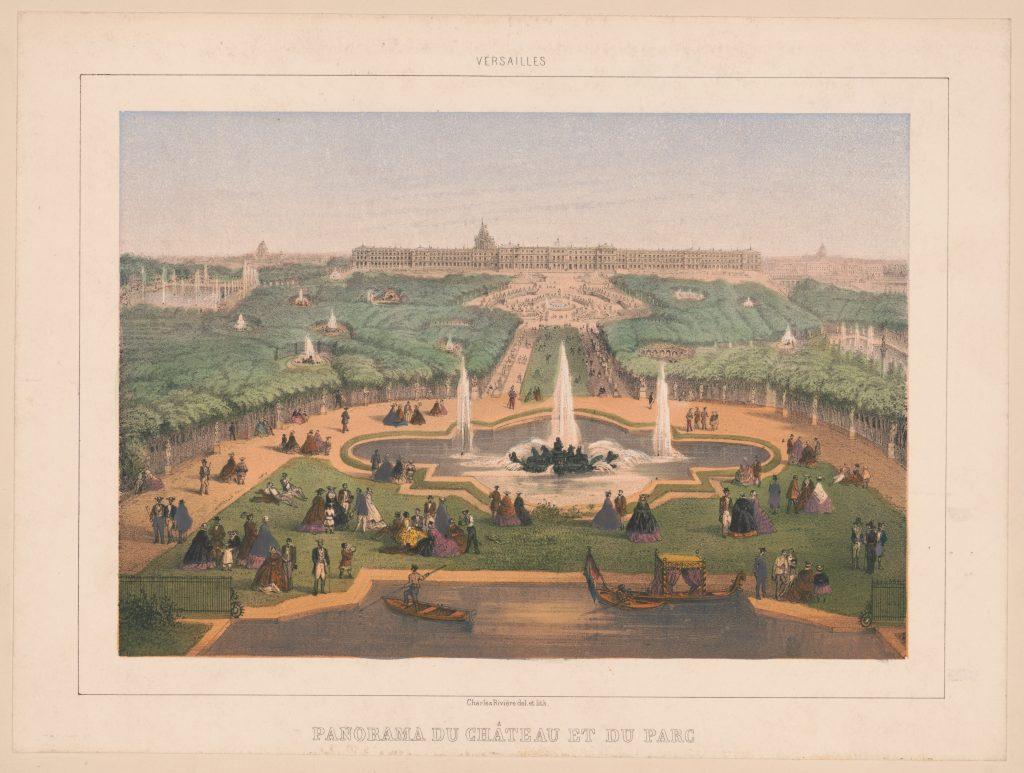 Versailles. Panorama du Château et du parc / Charles Rivière del. et lith