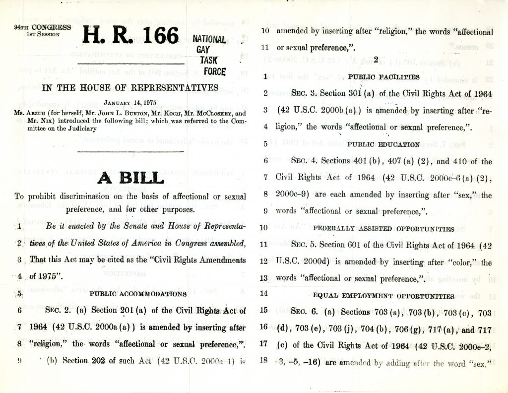 """H.R. 166 in the House of Representatives"" A Bill, Washington D.C., Jan. 14, 1975."