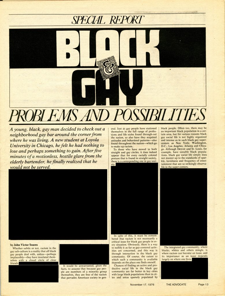 """Special Report: Black & Gay: Problems and Possibilities."""