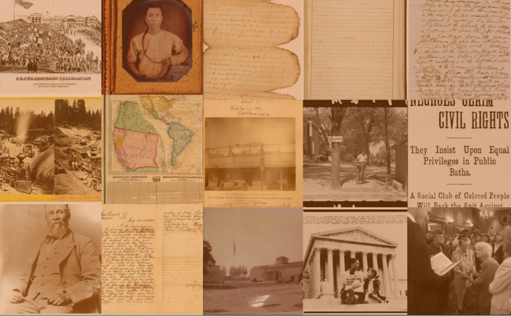 Thumbnail collage of select primary sources used in Teaching California.