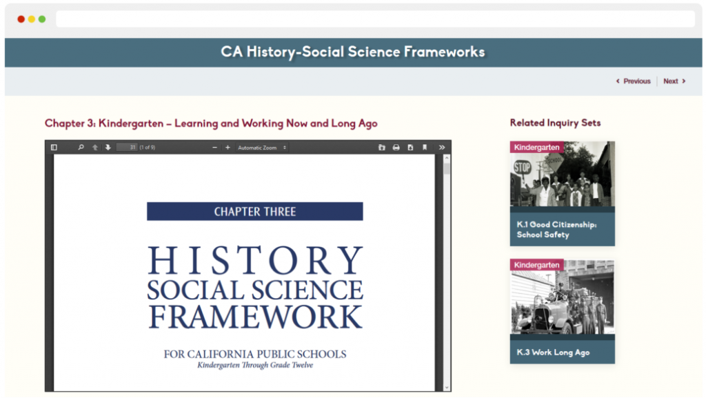 Screenshot of Chapter 3 (for Kindergarten) on teachingcalifornia.org.