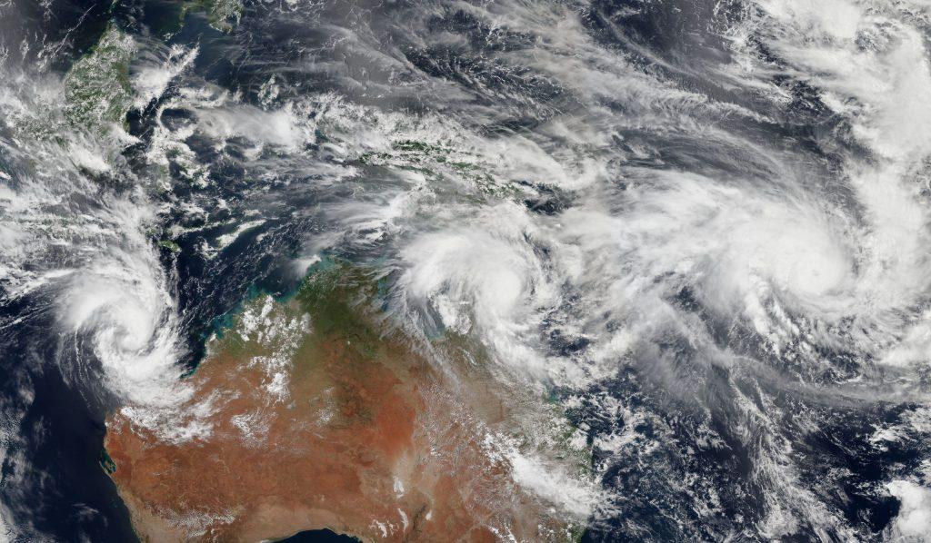 Three Cyclones Churn off Australia