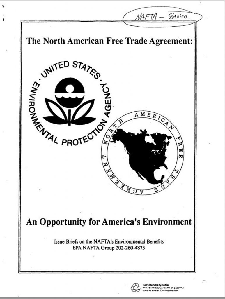 Clinton Administration, NAFTA: An Opportunity for America's Environment