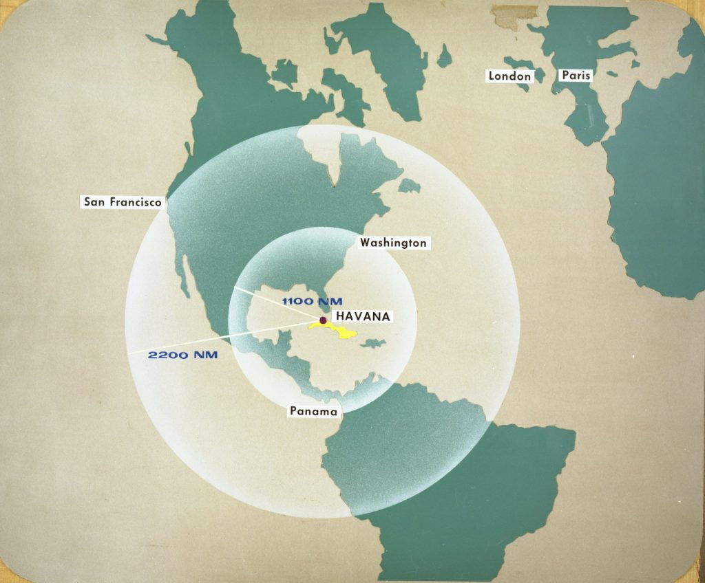 Map of Western Hemisphere showing ranges of 1100 and 2200 nautical miles