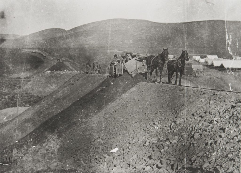 Chinese laborers working on the railroad
