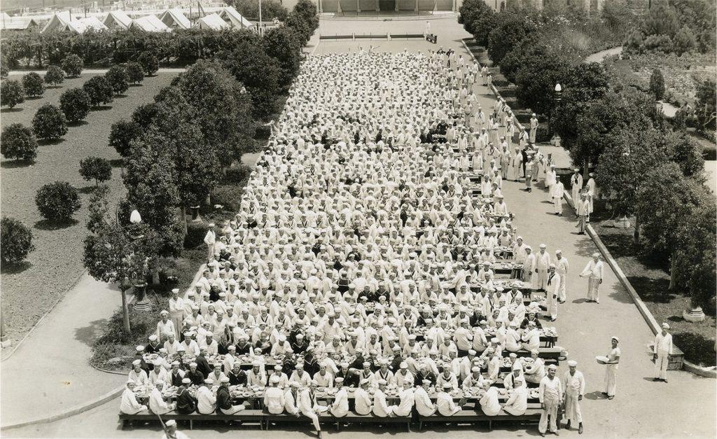 Sailors Chow at Open Air Mess, Balboa Park, 1917
