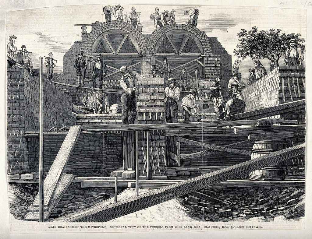 The construction of the great sewage tunnels, near old Ford, Bow