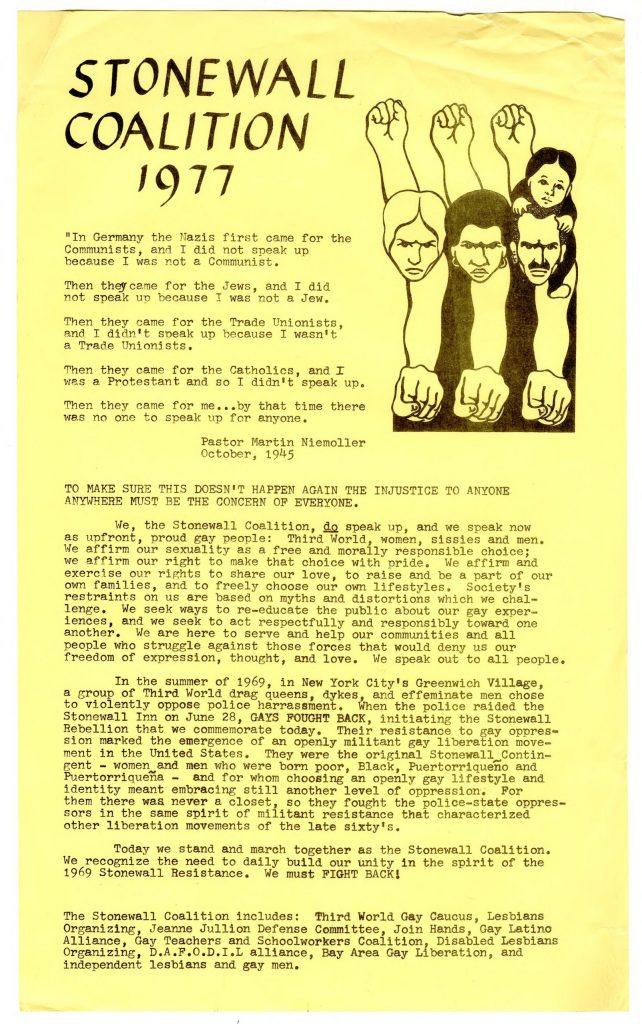 Stonewall Coalition 1977