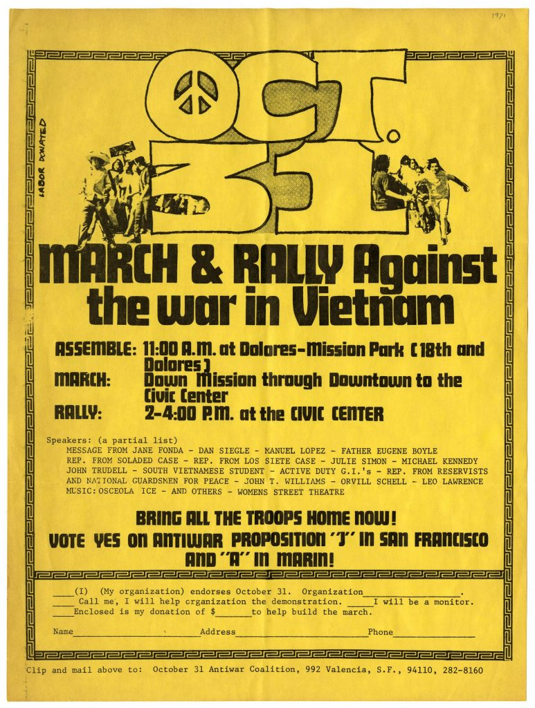 MARCH & RALLY Against the war in Vietnam. October 31 Antiwar Coalition, San Francisco, California