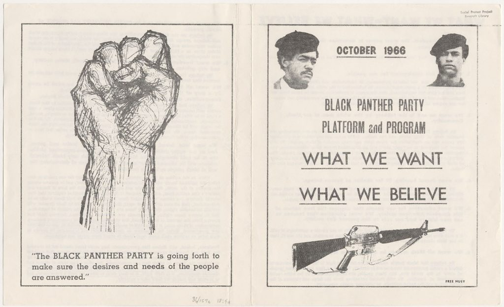 Black Panther Party Platform and Program (front and back cover).