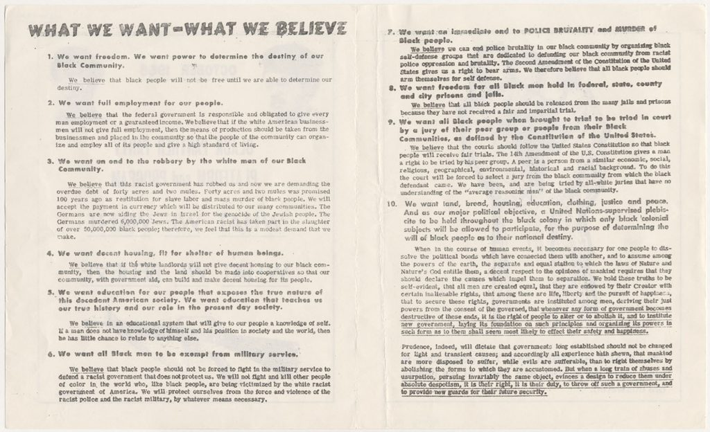 Black Panther Party Platform and Program (pages one and two).