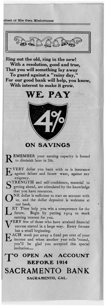 """Sacramento Bank Depositor """"A Home Paper for Home People"""" (page 004)"""