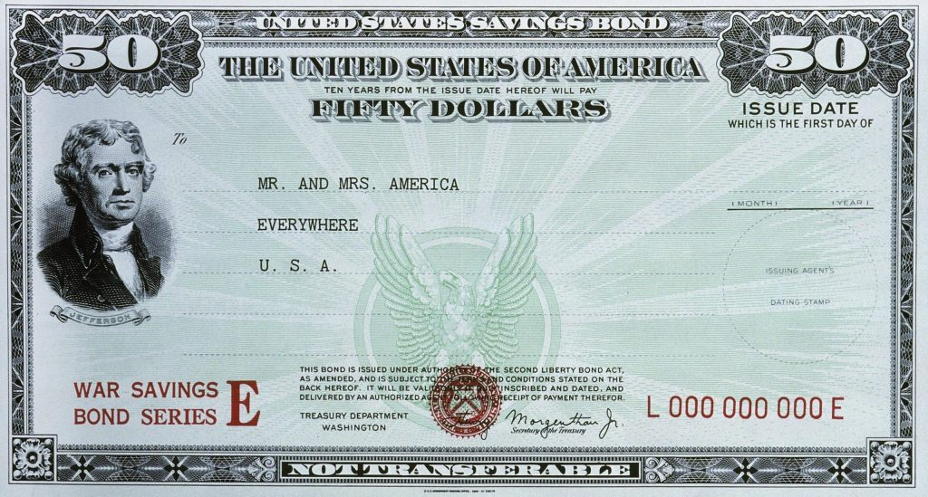 United States savings bond. The United States of America ten years from the issue date hereof will pay fifty dollars to … War savings bond series E …