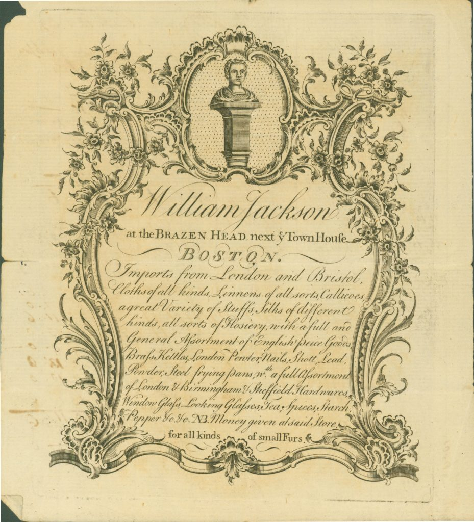 5.5.1 Illustrated Trade card of William Jackson's Brazen Head shop, c.1769