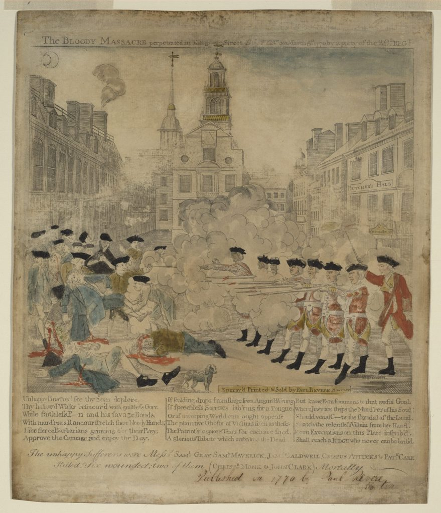 5.5.5 The bloody massacre perpetrated in King Street Boston on March 5th 1770 by a party of the 29th Regt.