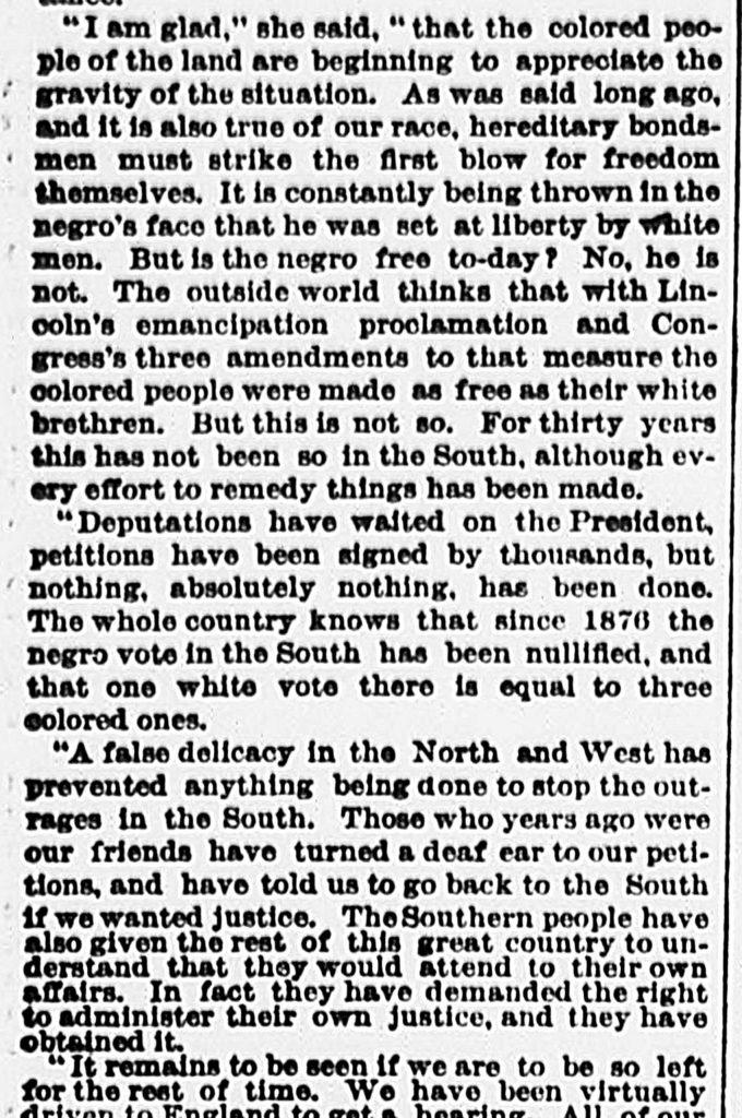 8.11.11 Ida Wells Heard Here: She Urges the Negroes of America to Organize