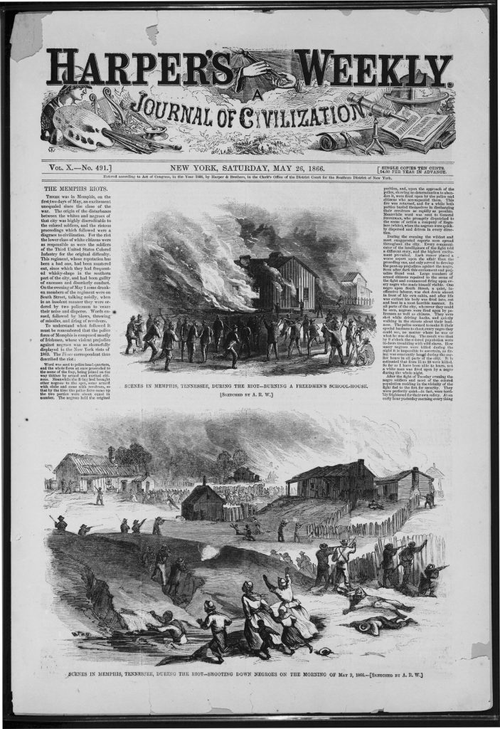 Scenes in Memphis, Tennessee, during the riot