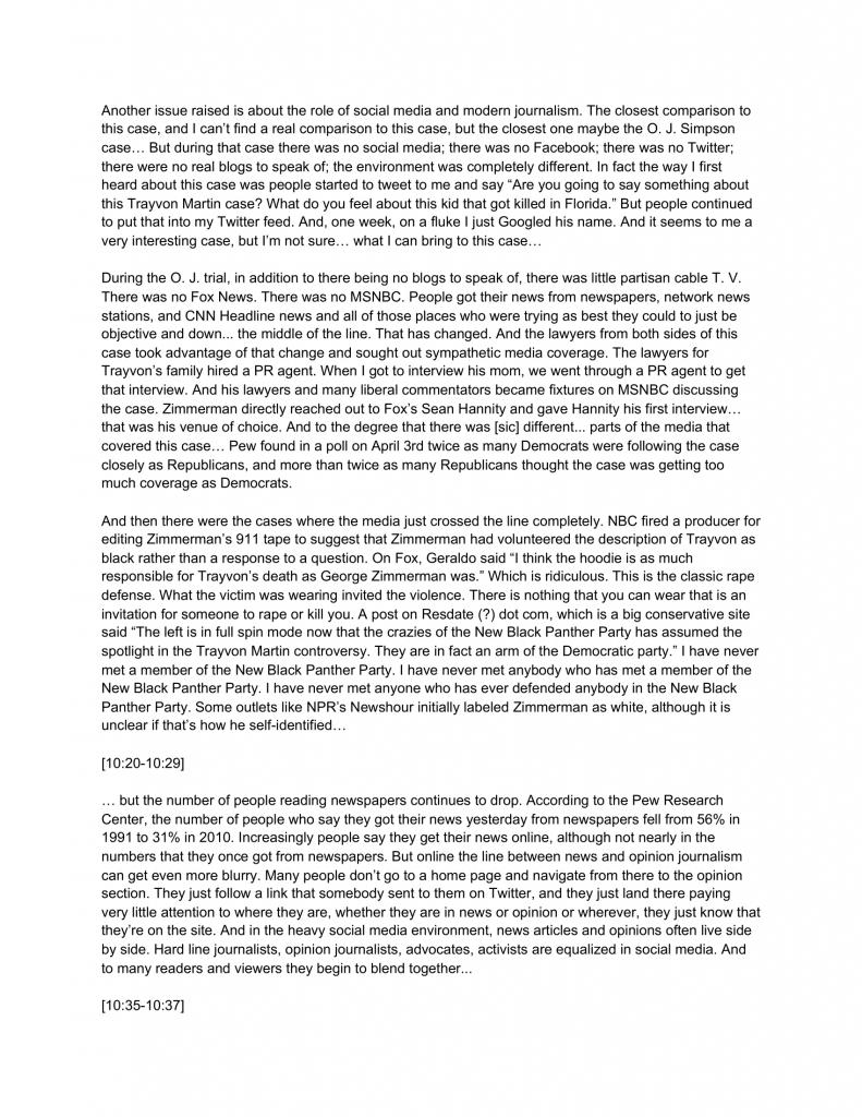 12AD.8.4 Coverage of the Trayvon Martin Case