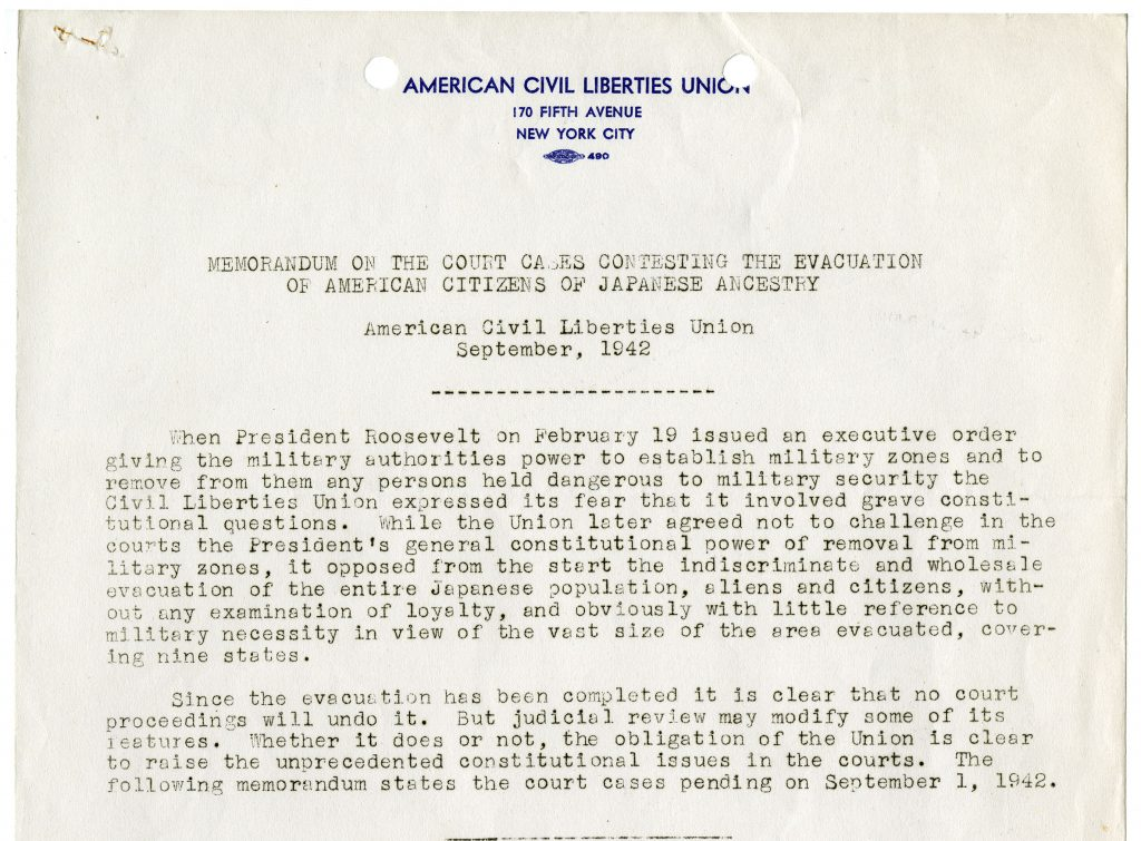 Memo from American Civil Liberties Union on the cases challenging relocation orders for Japanese Americans