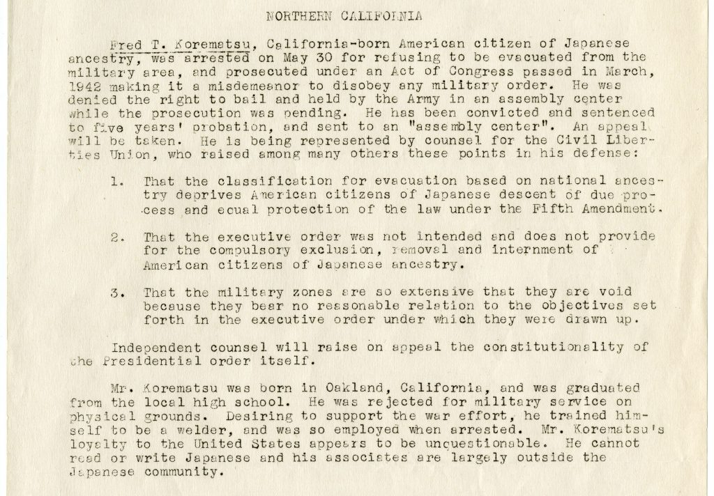 Memo from American Civil Liberties Union on the cases challenging relocation orders for Japanese Americans-part B